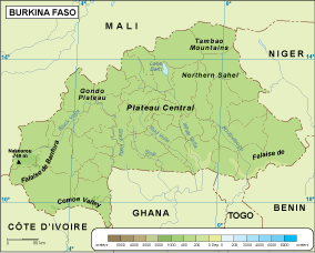 Burkina Faso physical map – Netmaps. Mapas de España y del mundo