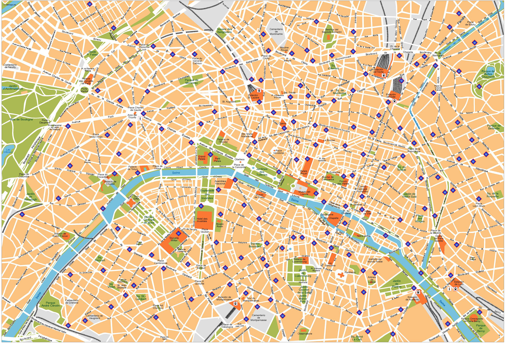 Paris Vector Map Netmaps Mapas De España Y Del Mundo - Paris map 2016