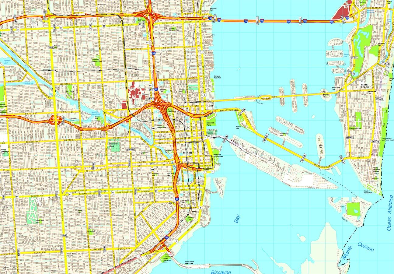 miami mapa vector eps | netmaps. mapas de españa y del mundo