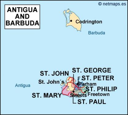 antigua and barbuda political map