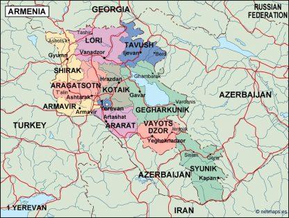 armenia political map
