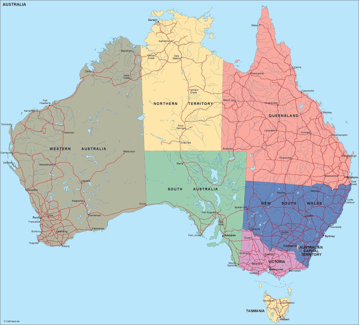 Australia Mapa Politico En Illustrator Netmaps Mapas De Espana