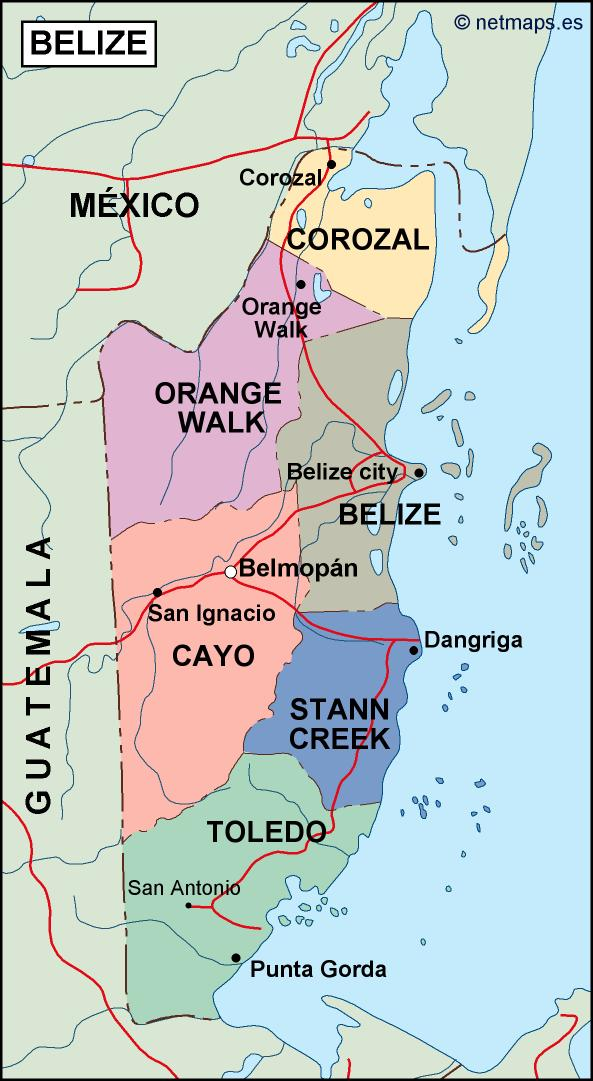 belize political map