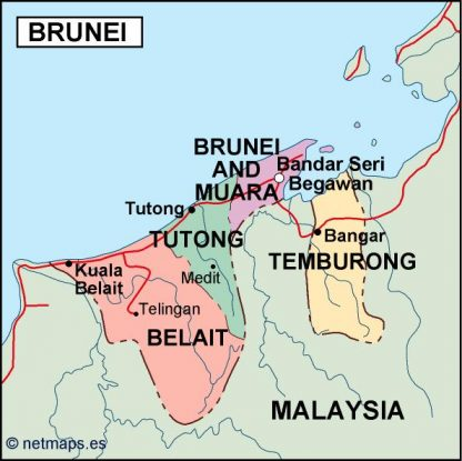 brunei political map