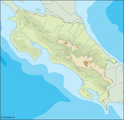 costa rica illustrator map