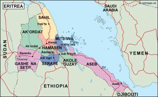eritrea political map