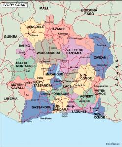 ivory coast political map
