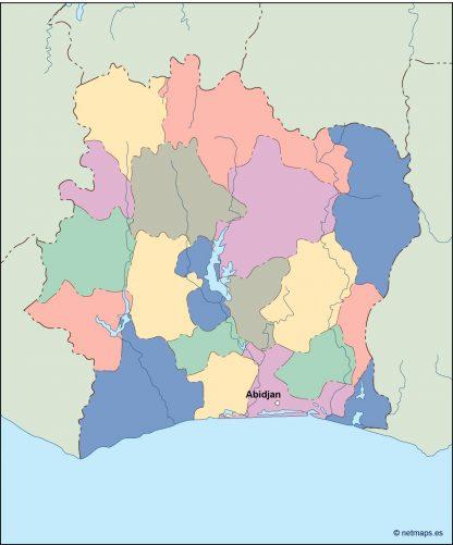 ivory coast vector map