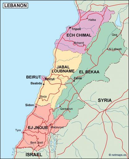 lebanon political map