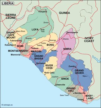 liberia political map