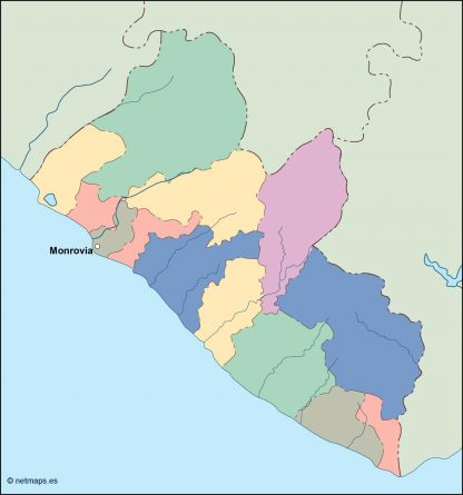 liberia vector map