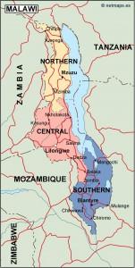 malawi political map