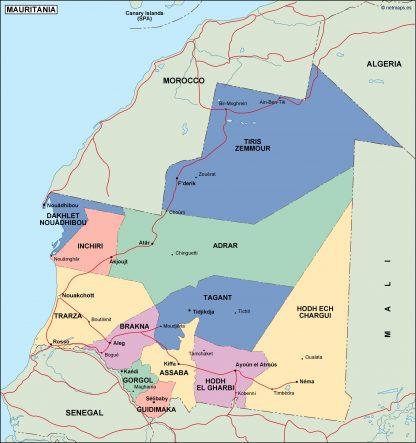 mauritania political map