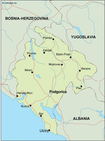 montenegro political map