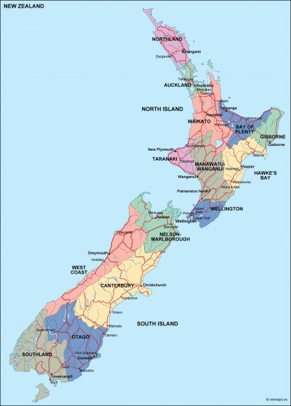new zealand political map