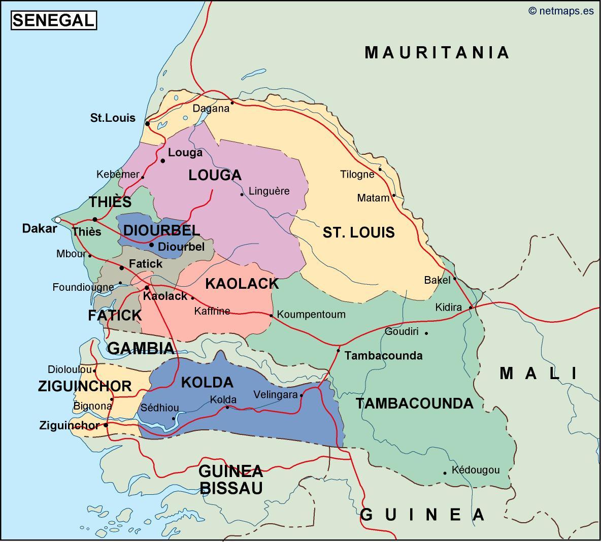 Senegal Mapa Politico En Illustrator Netmaps Mapas De Espana Y