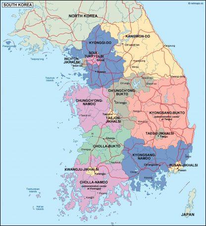 south korea political map