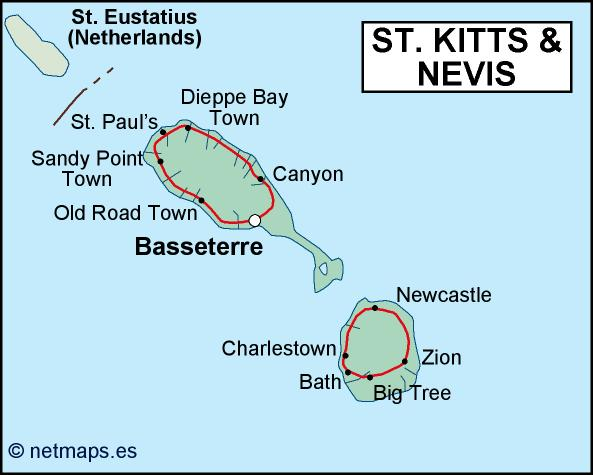 st kitts and nevis political map