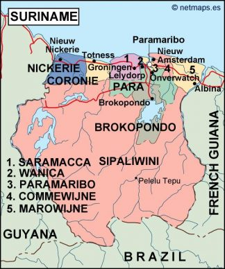 surinam political map
