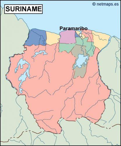 surinam vector map