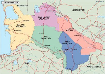turkmenistan political map