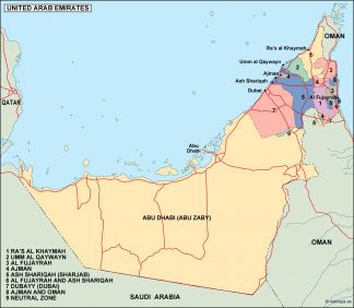 united arab emirates political map