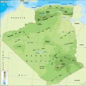 Algeria physical map