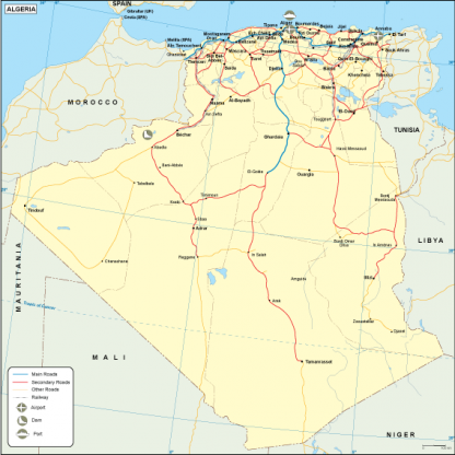 Algeria transportation map
