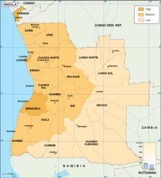 Angola economic map