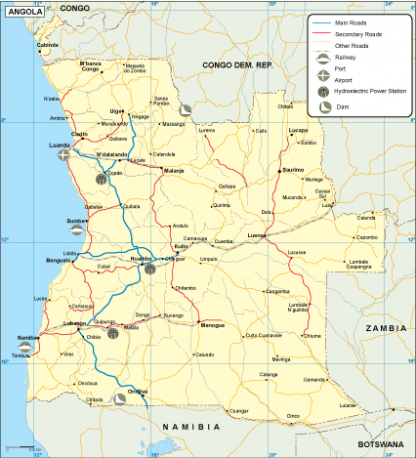 Angola transportation map
