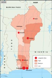 Benin population map