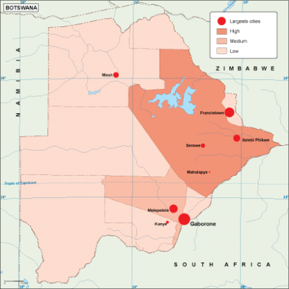Botswana population map