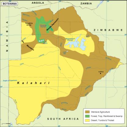 Botswana vegetation map