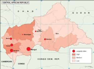 Central Afr Rep population map