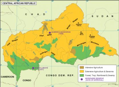 Central Afr Rep vegetation map