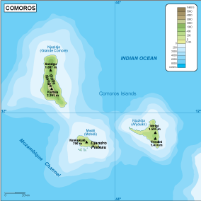 Comores physical map