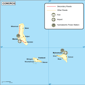 Comores transportation map
