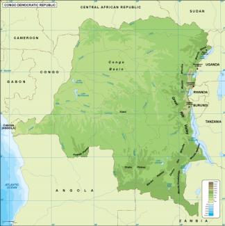 Congo Dem Rep physical map