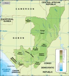 Congo physical map