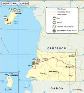 Equatorial Guinea transportation map