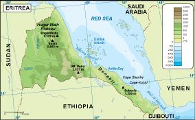 Eritrea physical map