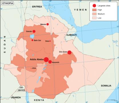 Ethiopia population map