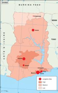 Ghana population map
