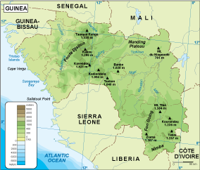 Guinea physical map