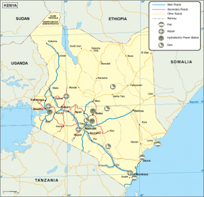 Kenya transportation map