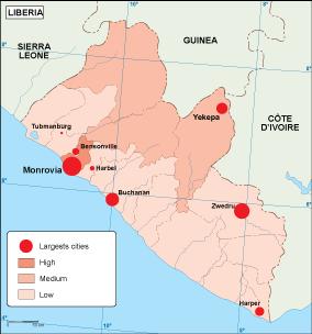 Liberia population map