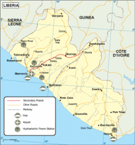 Liberia transportation map