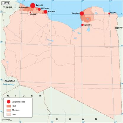 Libya population map