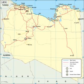 Libya transportation map