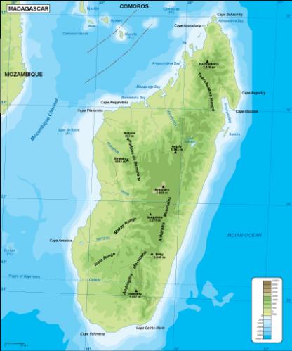 Madagascar physical map